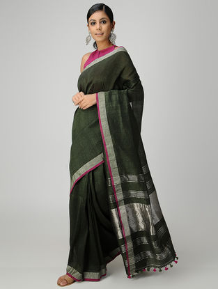 Green Cotton Linen Saree with Zari and Tassels