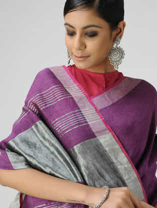 Purple Cotton Linen Saree with Zari and Tassels