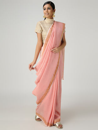 Pink Cotton Linen Saree with Zari and Tassels