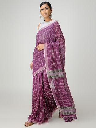 Purple-Ivory Linen Saree with Zari and Tassels