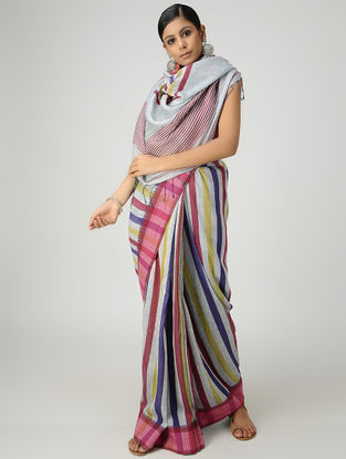 Grey-Pink Linen Saree with Woven Border