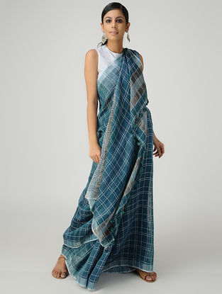 Blue-Ivory Linen Saree with Zari and Tassels