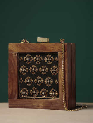 Brown-Black Embroidered Wooden Clutch