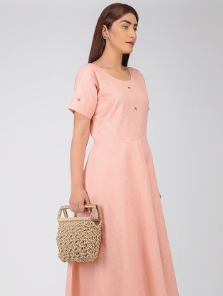 Beige Macrame Jute Handbag with Wooden Handle