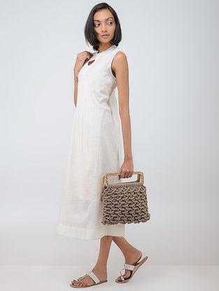 Beige Macrame Cotton Handbag with Wooden Handle