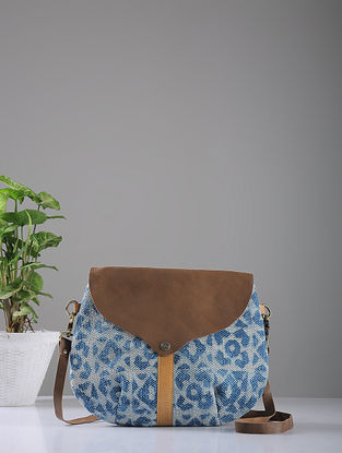 Indigo Hand-printed Cotton Rug and Leather Sling Bag