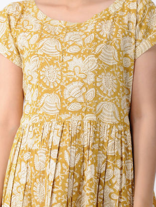 Ochre Block-Printed Cotton Dress