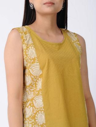 Ochre Block-Printed Cotton Top