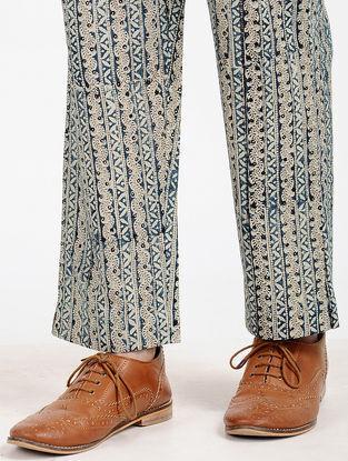 Blue Block-printed Cotton Pants