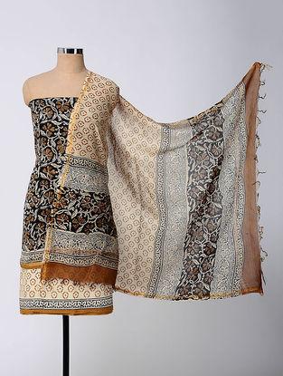 Black-Beige Block-printed Chanderi Suit Fabric with Cotton Dupatta (Set of 3)