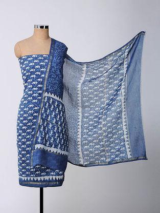 Blue-Ivory Bagru-printed Chanderi Suit Fabric with Dupatta (Set of 3)
