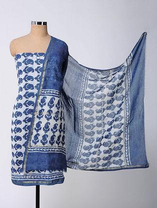 Ivory-Blue Bagru-printed Chanderi Suit Fabric with Dupatta (Set of 3)
