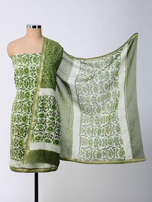 Ivory-Green Bagru-printed Chanderi Suit Fabric with Dupatta (Set of 3)