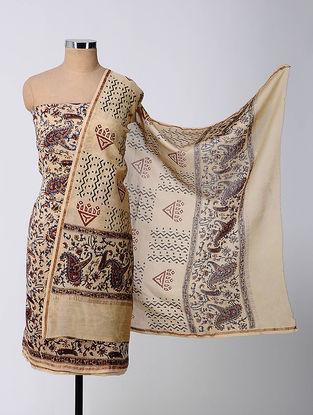 Beige-Red Bagru-printed Chanderi Suit Fabric with Dupatta (Set of 3)