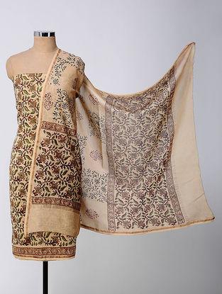 Beige-Green Bagru-printed Chanderi Suit Fabric with Dupatta (Set of 3)