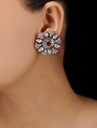 Red Silver Tone Brass Stud Earrings