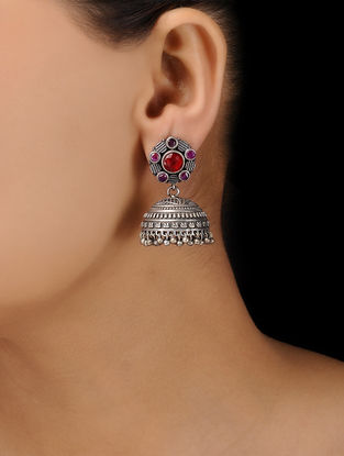 Red-Pink Silver Tone Brass Jhumkas