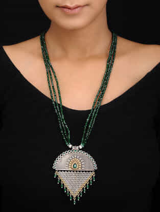 Green Dual Tone Brass Necklace