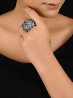 Green Silver Tone Brass Ring