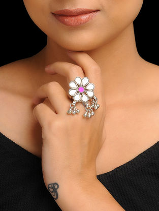 Pink-White Silver Tone Ring