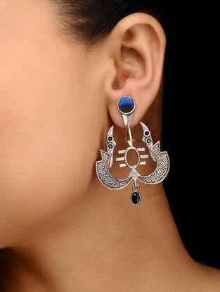 Blue Dual Tone Brass Earrings