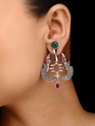 Pink-Green Dual Tone Brass Earrings