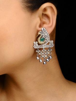 Green Dual Tone Brass Earrings