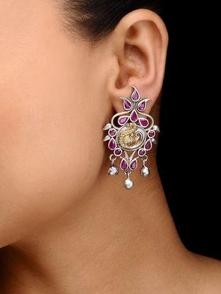 Pink Dual Tone Brass Earrings