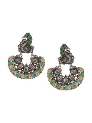 Green Dual Tone Brass Earrings with Peacock Design
