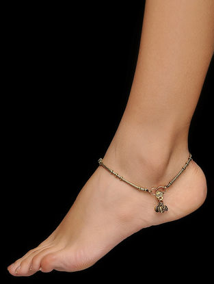 Classic Gold Tone Brass Anklets (Set of 2)
