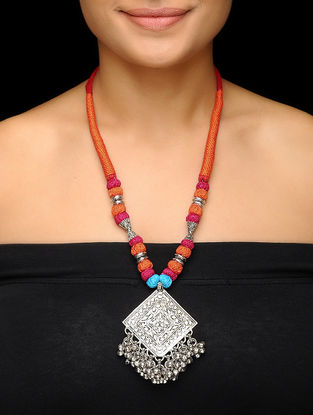 Orange-Pink Thread Brass Necklace with Floral Motif