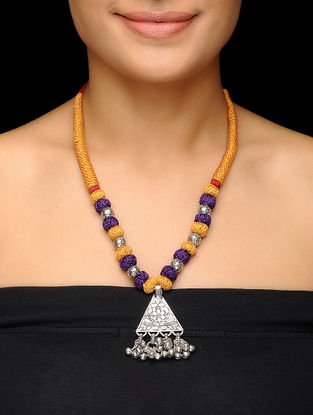 Mustard-Purple Thread Brass Necklace with Floral Motif