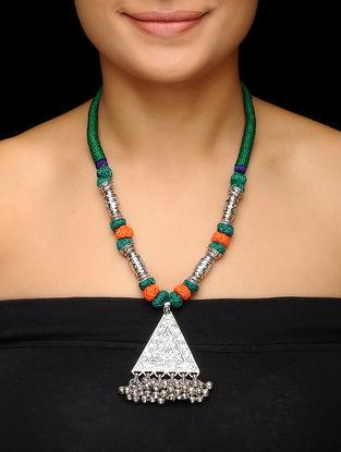 Green-Orange Thread Brass Necklace with Floral Motif