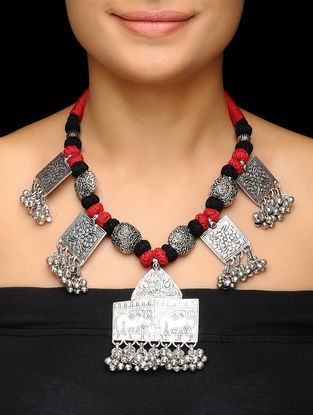 Red-Black Thread Brass Necklace with Floral Motif