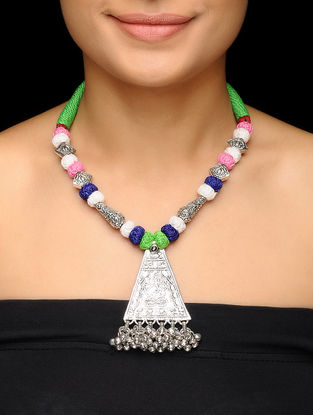 Multicolored Thread Brass Necklace with Lord Ganesha Motif