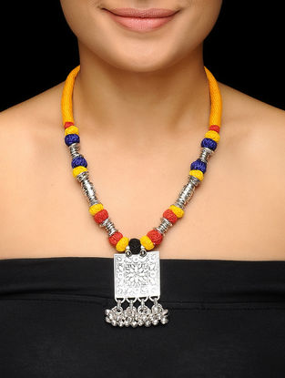 Yellow-Blue Thread Brass Necklace with Floral Motif