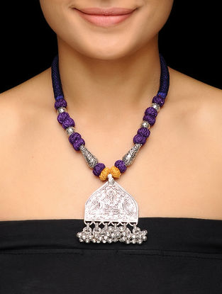 Purple Thread Brass Necklace with Lord Ganesha Motif