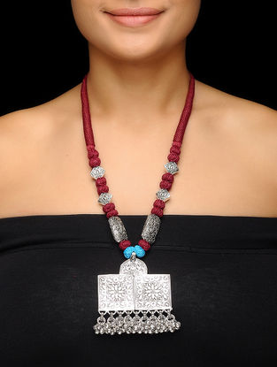 Red Thread Brass Necklace with Floral Motif