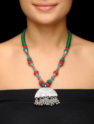Red-Green Thread Brass Necklace with Floral Motif