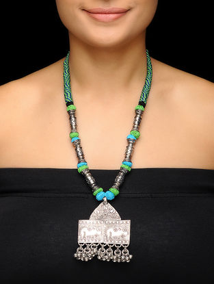 Green-Blue Thread Brass Necklace with Elephant Motif
