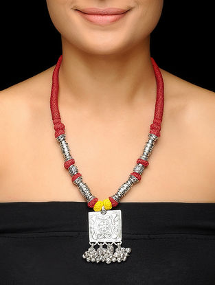 Red-Yellow Thread Brass Necklace with Floral Motif