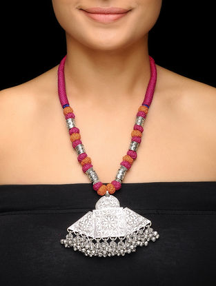 Pink-Brown Thread Brass Necklace with Floral Motif