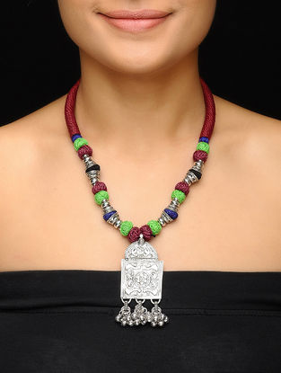 Green-Maroon Thread Brass Necklace with Floral Motif