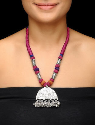 Pink-Purple Thread Brass Necklace with Floral Motif