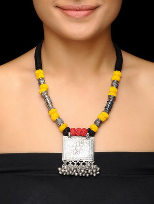 Yellow-Black Thread Brass Necklace with Floral Motif