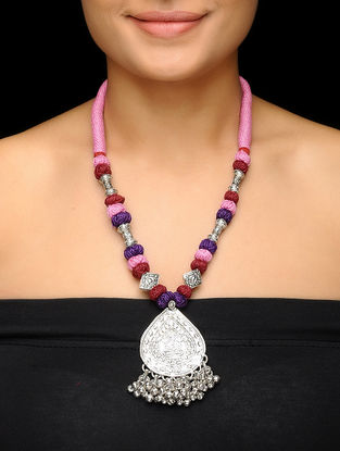 Pink-Purple Thread Brass Necklace with Lord Ganesha Motif
