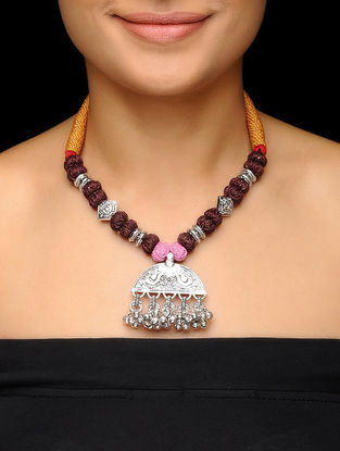 Brown-Mustard Thread Brass Necklace with Floral Motif