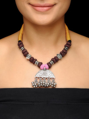 Brown-Yellow Thread Brass Necklace with Floral Motif