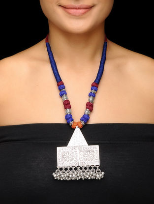Blue-Maroon Thread Brass Necklace with Floral Motif
