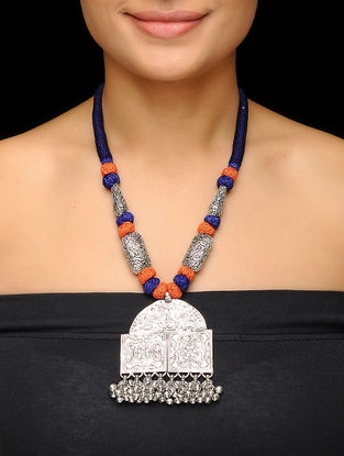 Blue-Orange Thread Brass Necklace with Floral Motif